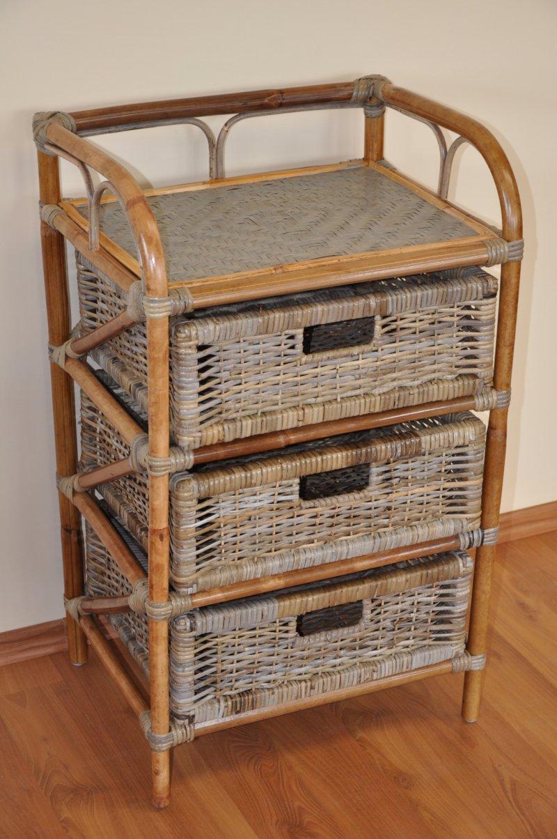 Ratanová komoda 3 zásuvky ratan kubu