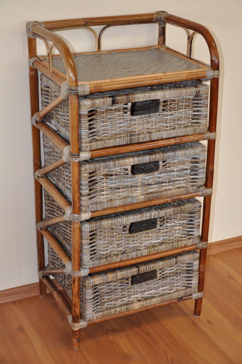Ratanová komoda 4 zásuvky ratan kubu