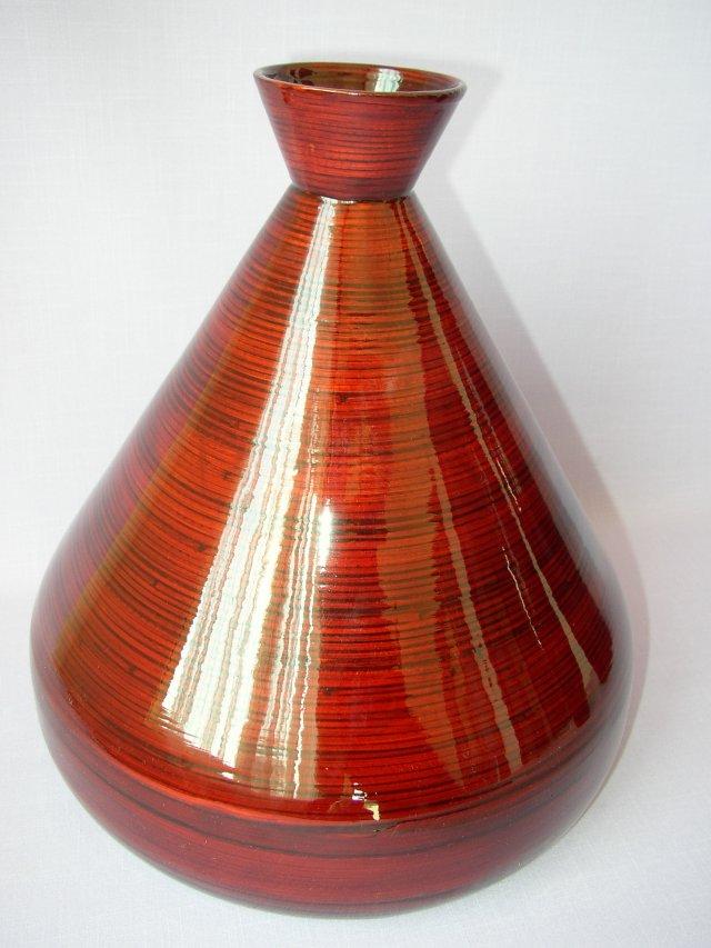 Bambusová váza široká červená