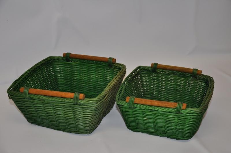 Ratanový košík set 2 varianta zelená