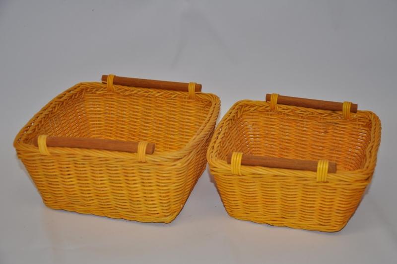 Ratanový košík set 2 varianta žlutá