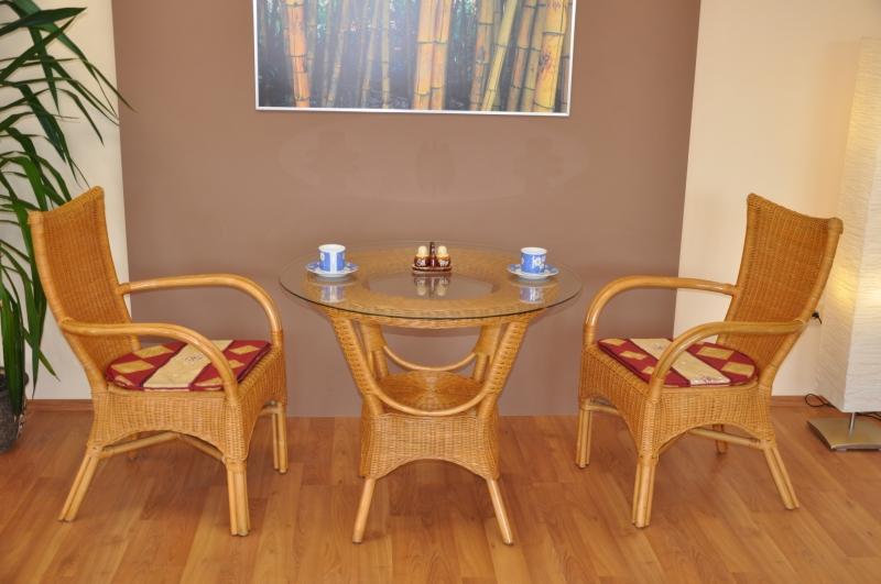 Ratanová sedací souprava Phuket small medová polstr vínový motiv