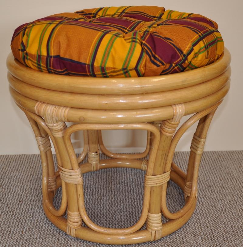 Ratanová taburetka velká medová polstr okrový