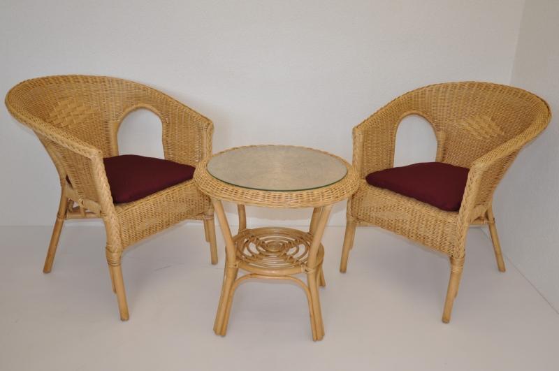 Ratanová sedací souprava Utan medová vínové polstry