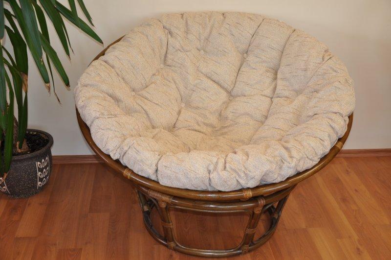 Ratanový papasan 115 cm hnědý - polstr Ebony