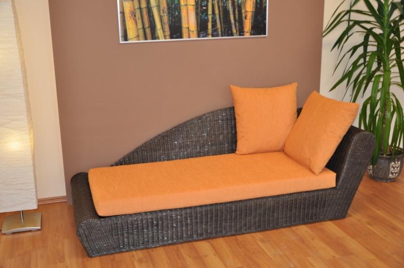 Ratanová odpočinková pohovka hnědá levá polstr oranžový