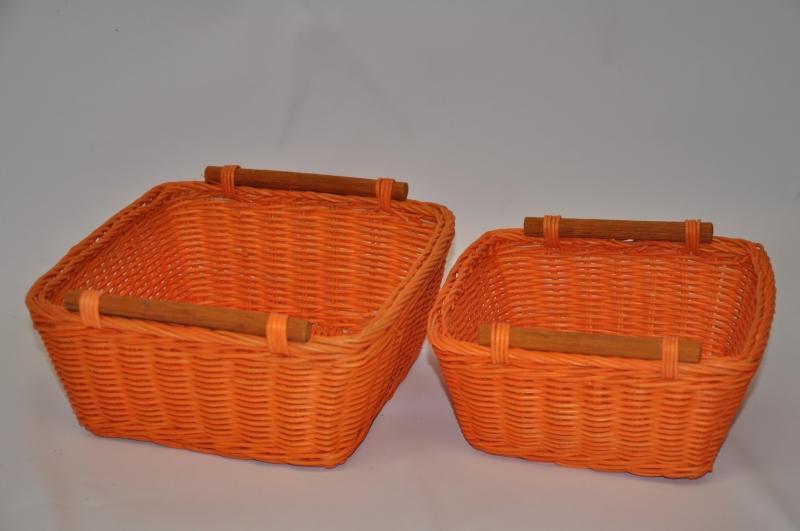 Ratanový košík set 2 varianta oranžová