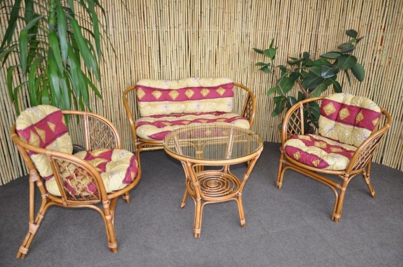 Ratanová sedací souprava Cayman velká Brown wash, polstr vínový motiv