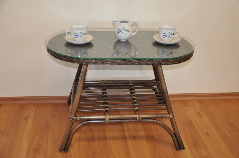 Ratanový stolek Utan oválný hnědý