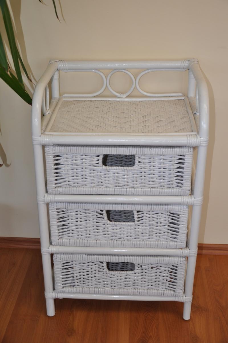 Ratanová komoda 3 zásuvky ratan bílá