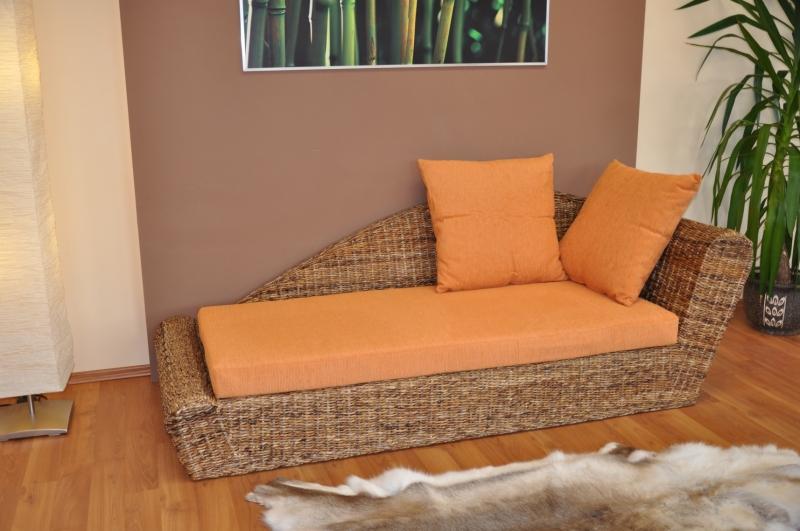 Odpočinková pohovka levá  banánový list polstr oranžový