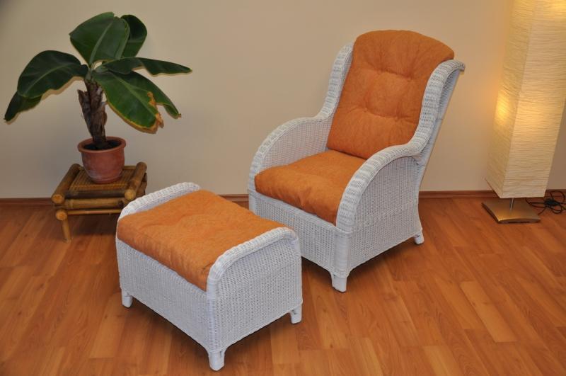 Ratanové křeslo Telinga s taburetkou bílé, polstr oranžový