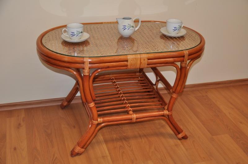 Ratanový stolek Guo oválný koňak