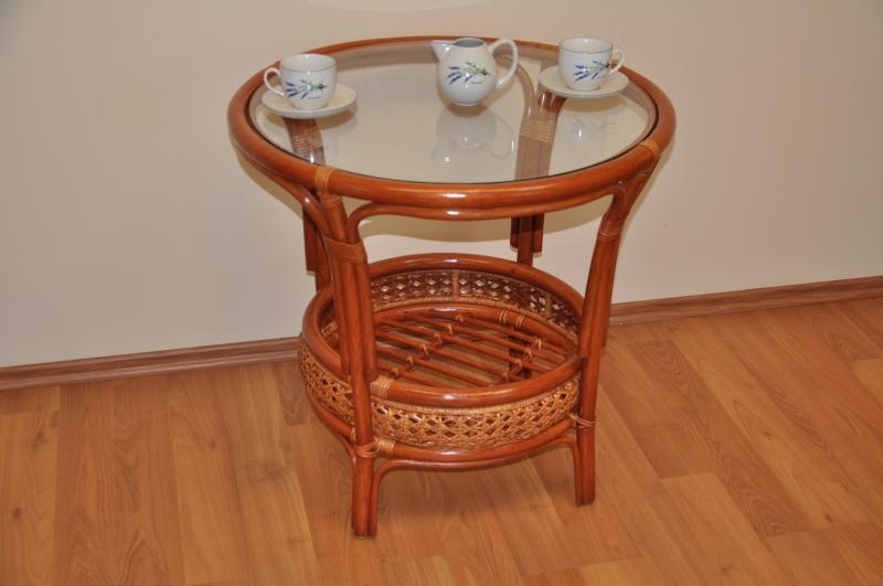 Ratanový stolek Guo kulatý koňak