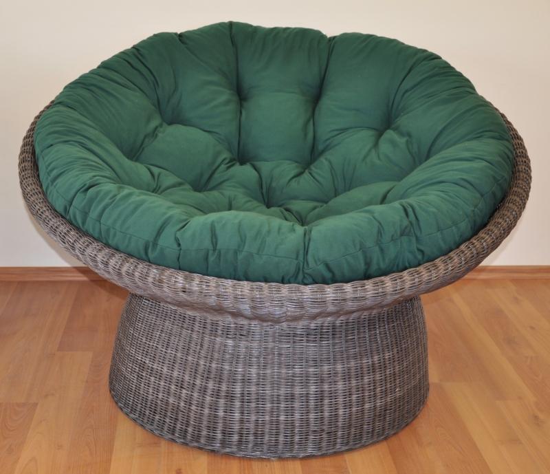 Ratanový papasan wicker hnědý polstr zelený dralon