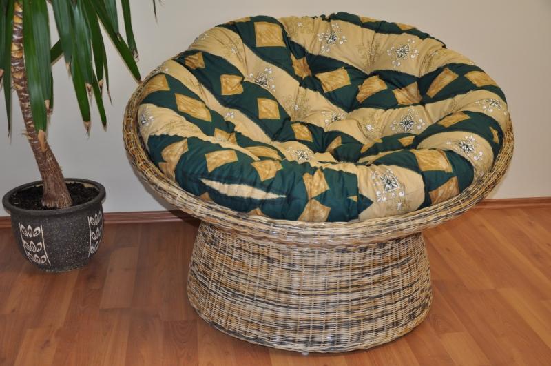 Ratanový papasan wicker mix polstr zelený motiv