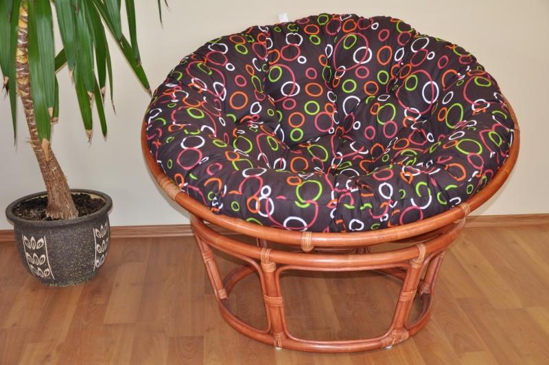 Ratanový papasan 110 cm koňak, polstr barevné bubliny