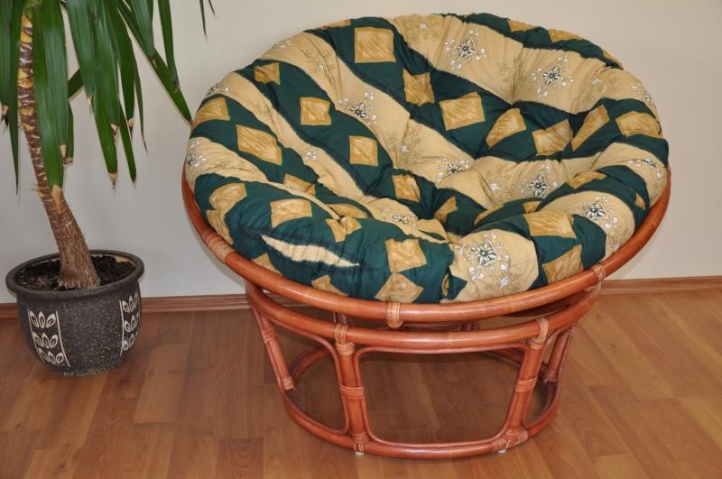 Ratanový papasan 110 cm koňak, polstr zelený motiv