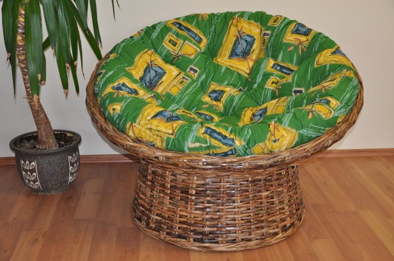 Ratanový papasan Abaka split polstr zelený