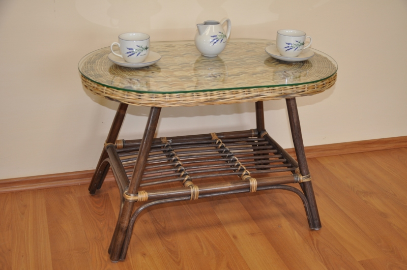 Ratanový stolek Utan oválný wicker mix
