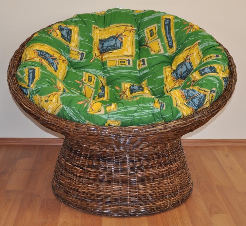 Ratanový papasan Coco polstr zelený