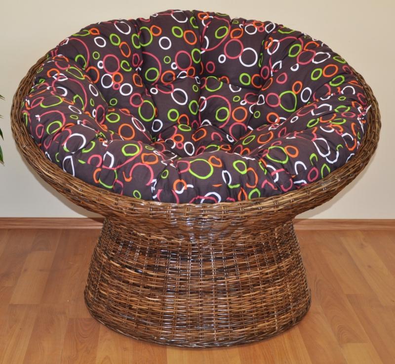Ratanový papasan Coco polstr barevné bubliny