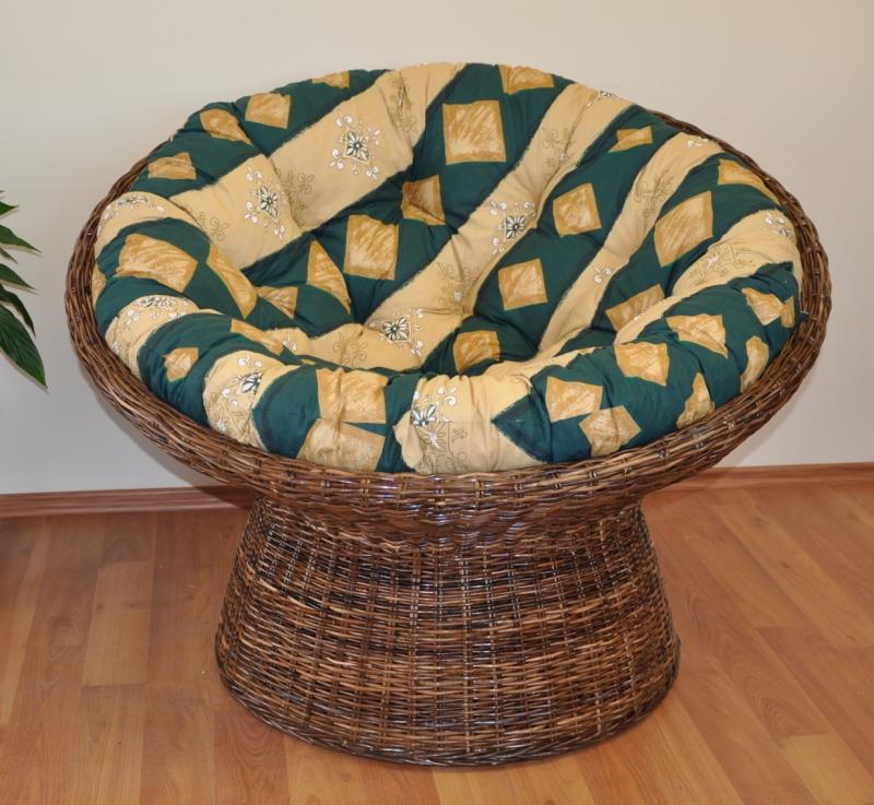 Ratanový papasan Coco polstr zelený motiv