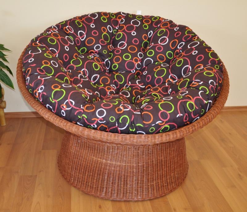 Ratanový papasan wicker koňak polstr barevné bubliny