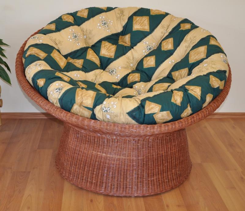 Ratanový papasan wicker koňak polstr zelený motiv