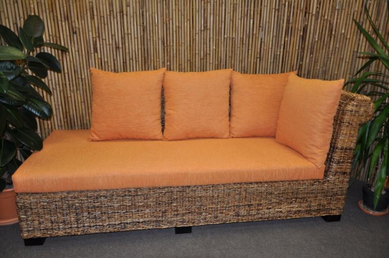 Odpočinková pohovka Malas levá banánový list polstr oranžový - kopie