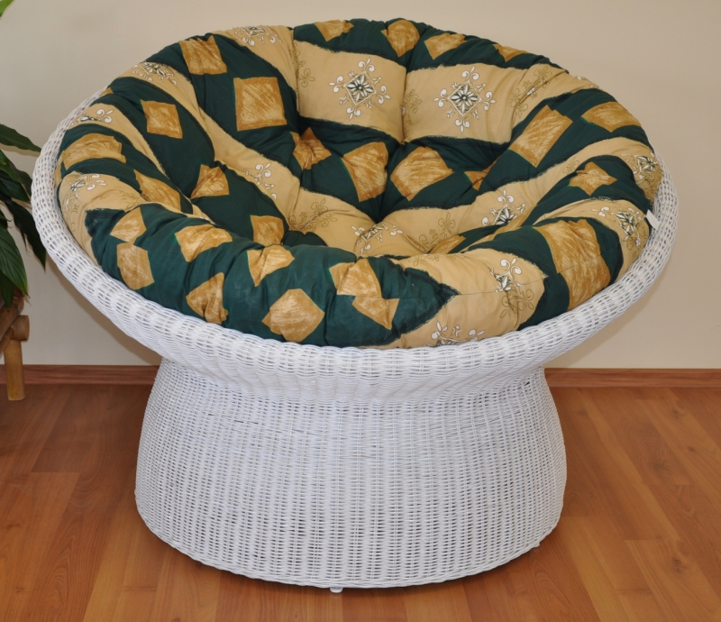 Ratanový papasan wicker bílý polstr zelený motiv