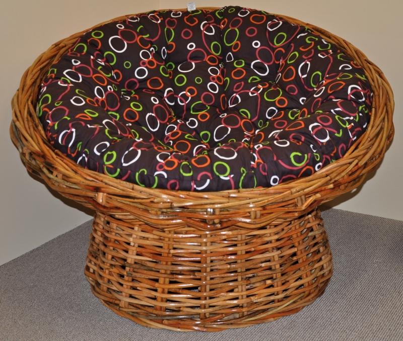 Ratanový papasan Abaka polstr barevné bubliny