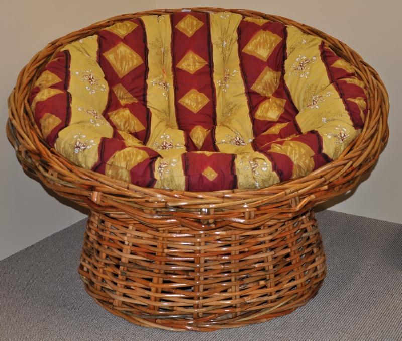 Ratanový papasan Abaka polstr vínový motiv