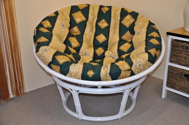 Ratanový papasan 110 cm bílý, polstr zelený motiv