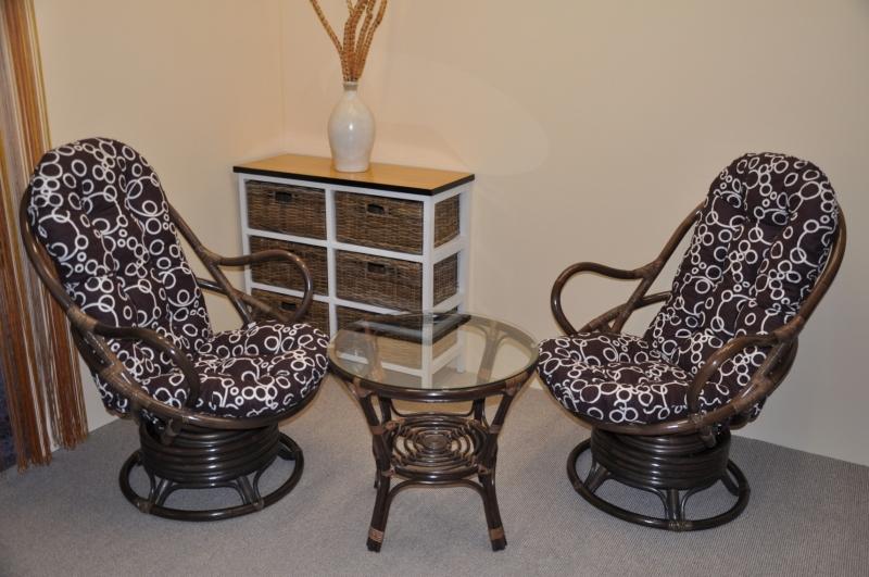 Ratanová souprava Swivel + stolek hnědá polstry bubliny