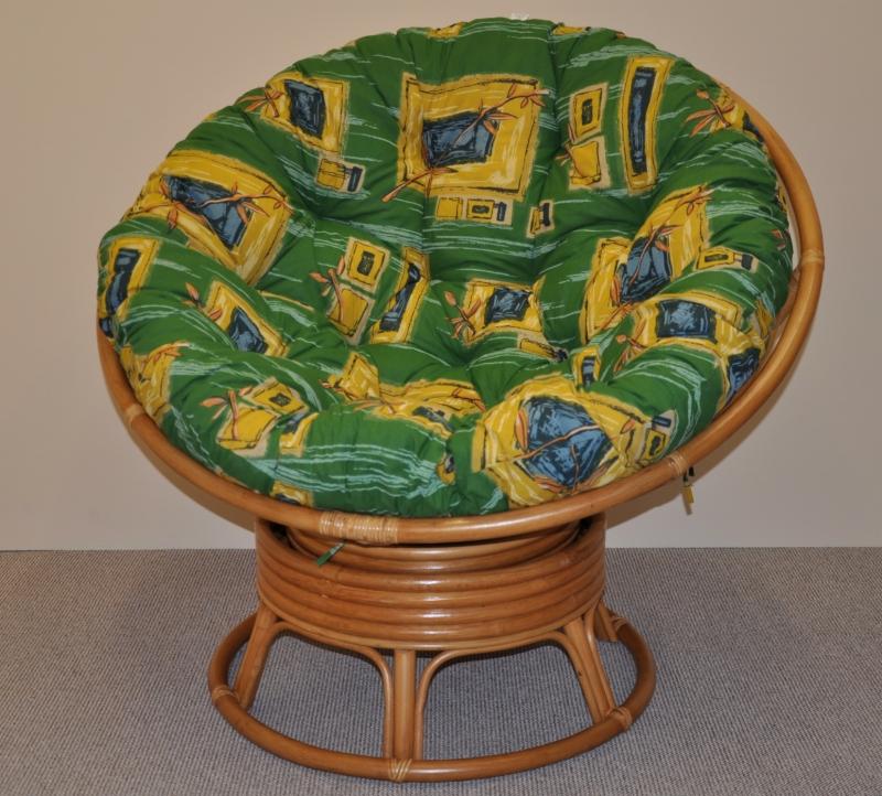 Ratanový papasan houpací medový polstr zelený