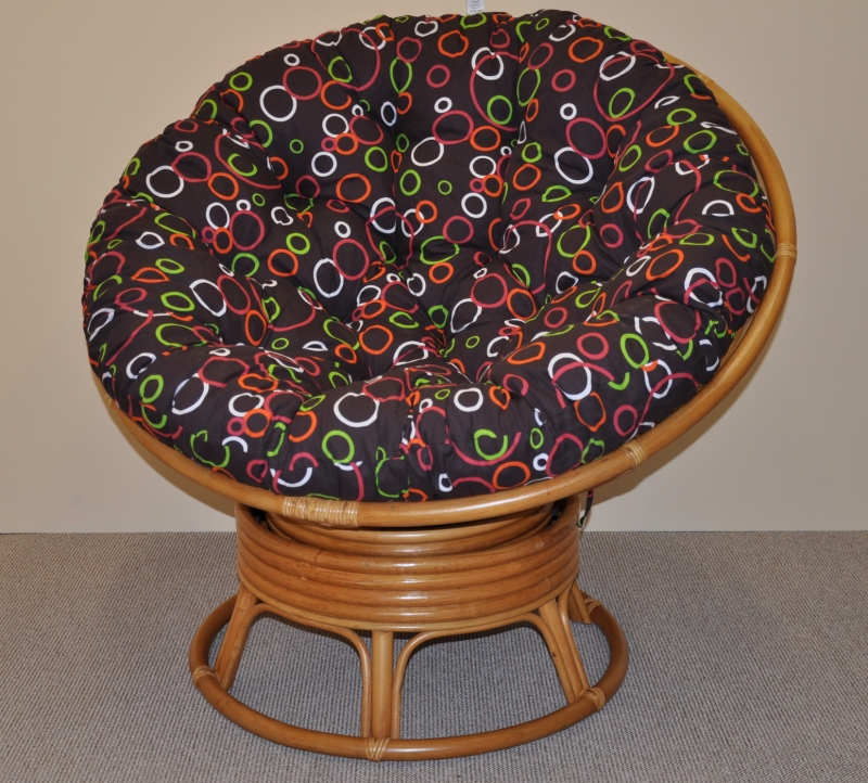 Ratanový papasan houpací medový polstr barevné bubliny