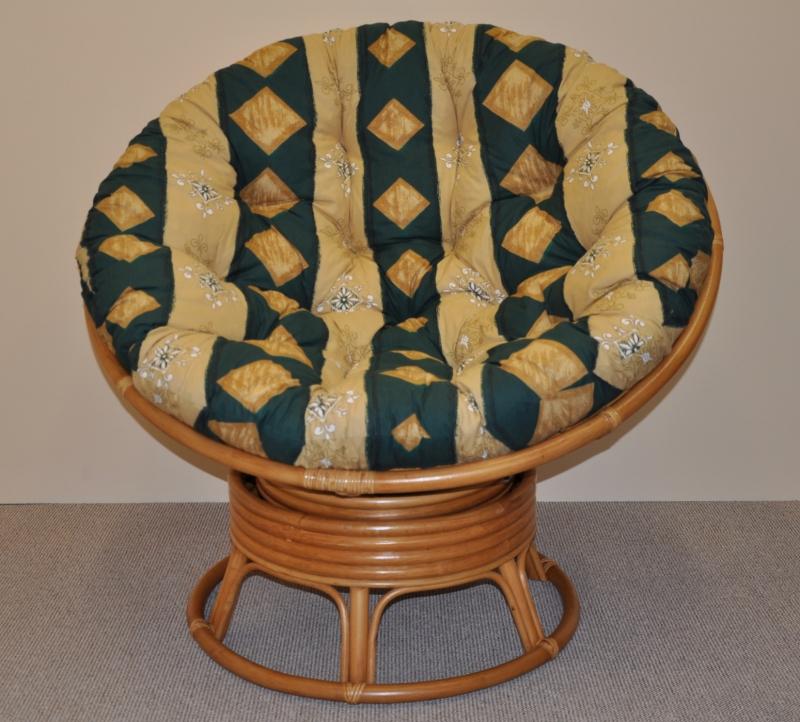 Ratanový papasan houpací medový polstr zelený motiv