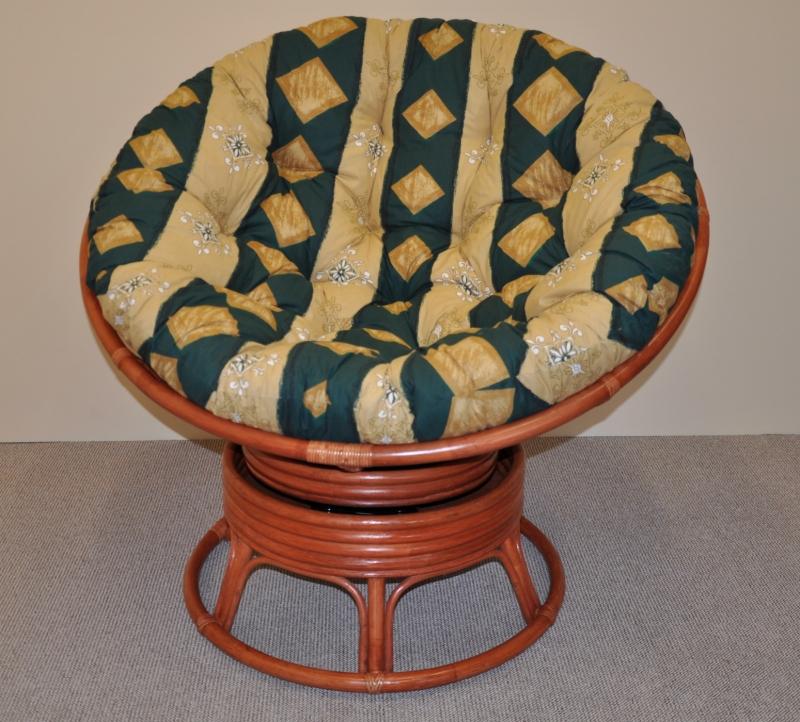 Ratanový papasan houpací koňak polstr zelený motiv