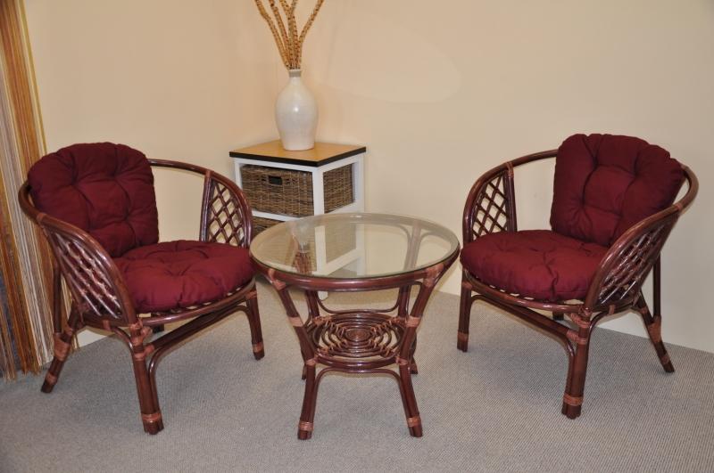 Ratanová sedací souprava Cayman mahagon 2+1, polstry vínové