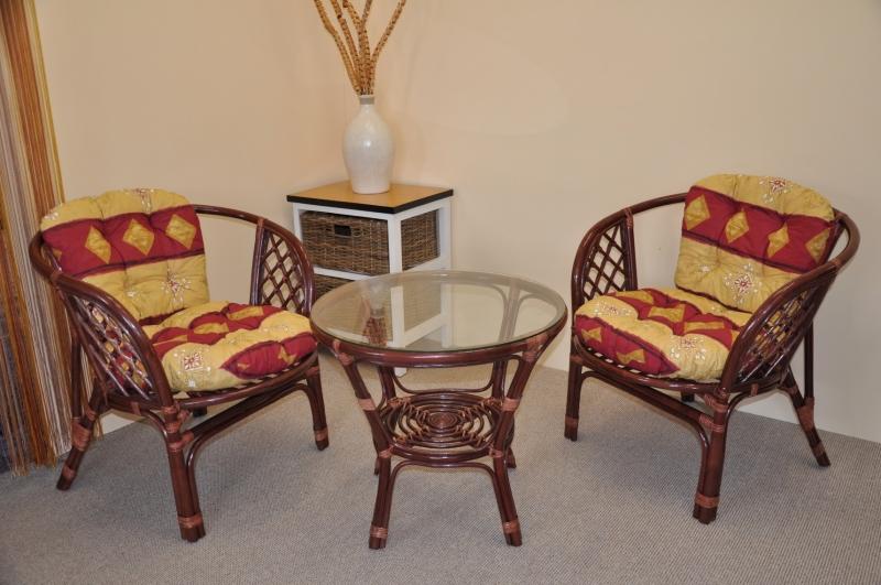 Ratanová sedací souprava Cayman mahagon 2+1, polstry vínový motiv