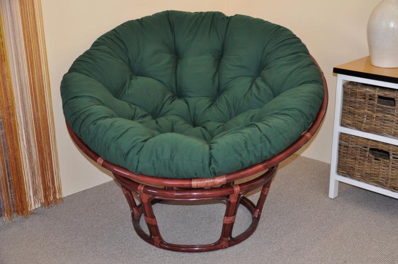 Ratanový papasan 110 cm mahagon, polstr zelený dralon