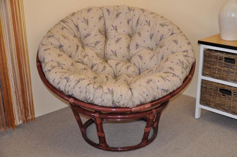 Ratanový papasan 110 cm mahagon, polstr levandule
