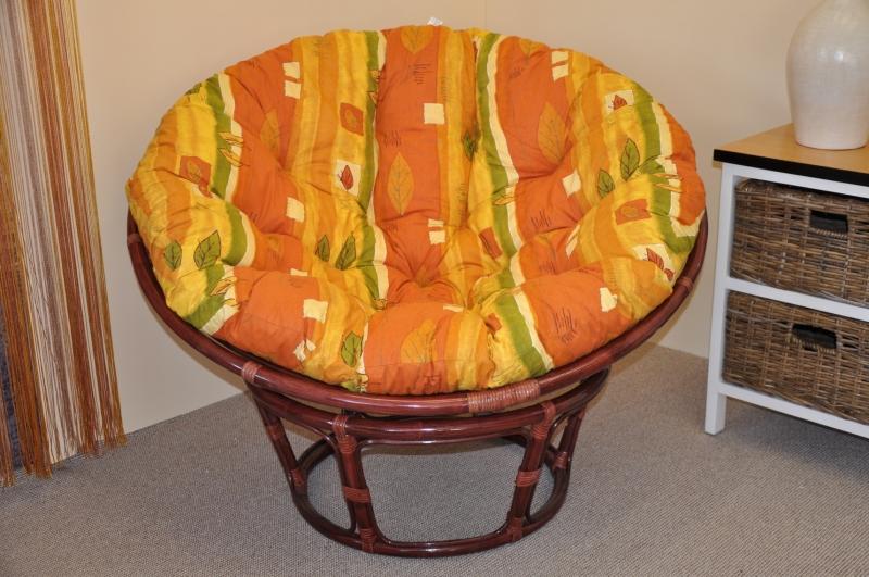 Ratanový papasan 110 cm mahagon, polstr žlutý motiv