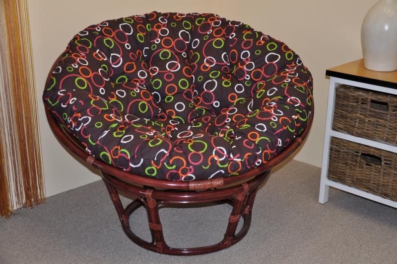 Ratanový papasan 110 cm mahagon, polstr barevné bubliny