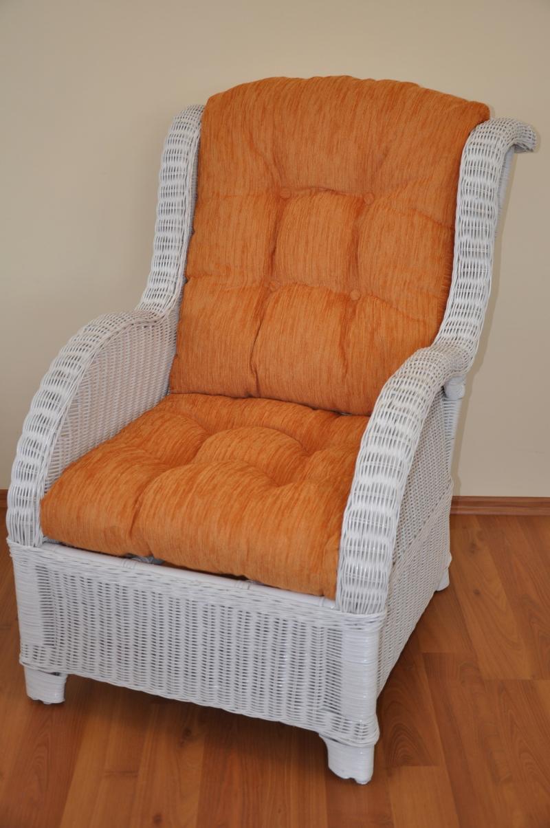 Ratanové křeslo Telinga bílé, polstr oranžový