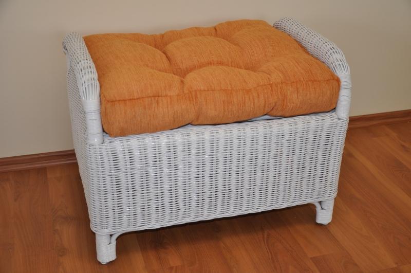 Ratanová taburetka Telinga bílá, polstr oranžový