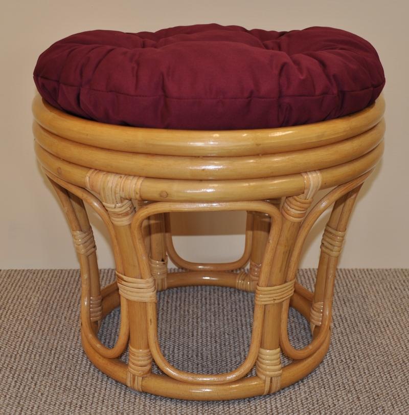 Ratanová taburetka velká medová polstr vínový