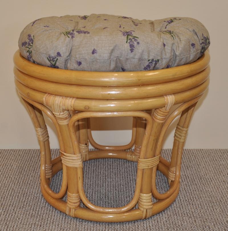 Ratanová taburetka velká medová polstr levandule