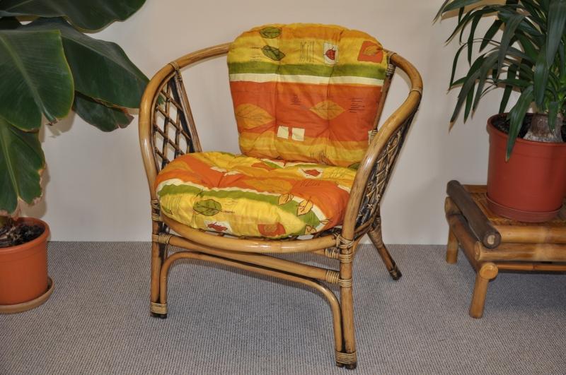 Ratanové křeslo Cayman brown wash polstr žlutý motiv